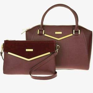 Handbags - NWT Oxblood Leather Satchel & Clutch Crossbody